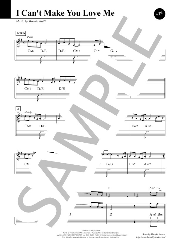 I Can't Make You Love Me inEb (Sheet Music)/ボニー